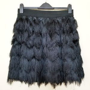 Banana Republic | Black Fringe Tiered Mini Skirt